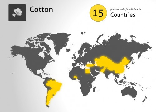 Weltkarte mit Ländern, in denen Zwangs- oder Kinderarbeit betrieben wird, um Baumwolle zu pflücken